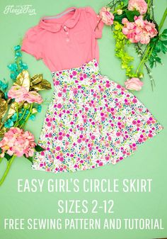 Circle Skirt Pattern for Girls (free) with Easy Tutorial - No Math! Girls Skirt Patterns, Coat Patterns, Sewing Patterns Free, Free Sewing, Blouse Patterns, Clothes Patterns, Circle Skirt Pattern, Skirt Pattern Free, Cute Sewing Projects