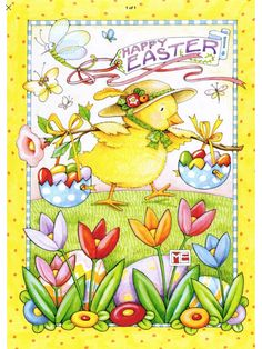 Chick in Bonnet Balancing Eggs Mary Engelbreit Easter Card by Recycled Paper Greetings Illustrations, Illustration Art, Easter Drawings, 5 April, Chocolate Easter Bunny, Decoupage, Easter Parade, Mary Engelbreit, Hoppy Easter