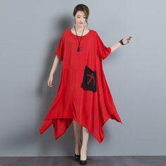 9b21fc169f1 New Fashion Women Summer Dress Half Sleeve O Neck Loose Robe Dress Classic  Black Red Femme High Range Linen Casual Long Dress-in Dresses from Women s  ...