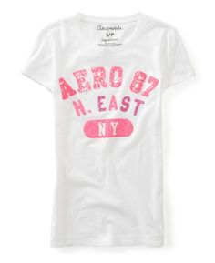 White glitter logo Aeropostale tee/ just got Ariana like 10 of these Tees for $2.50 a piece!!! Great selection too since she wears an extra small! Also the zip up hoodie for $8! Amazing deals!!!