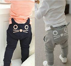 Cat bottom harem pant from Korea Fashion Kids, Baby Boy Fashion, Baby Kind, My Baby Girl, Cat Beard, Baby Boy Outfits, Kids Outfits, Kids Pants, Baby Pants