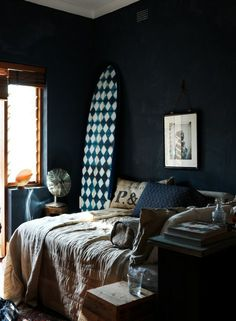 Beautiful dark gray bedroom decoration with dark painting wall, a wall photo album, a bed with a bed sheet, a pillows. It's a stylish & moody decoration at this modern & classic bed room.❚► http://www.urbanroad.com.au/