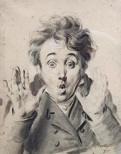 Surprise, self portrait by Louis Léopold Boilly (1761-1845)