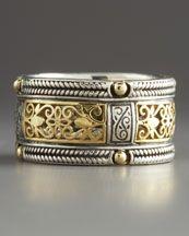 Konstantino Silver & Gold Lace Band Ring