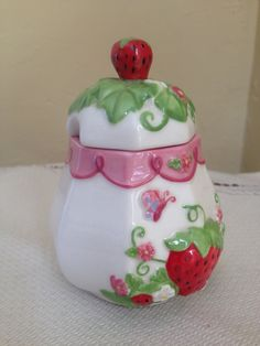 Your place to buy and sell all things handmade Strawberry Kitchen, Strawberry Plants, Strawberry Recipes, Strawberry Decorations, Strawberry Fields Forever, Vintage Tablecloths, Kitchen Themes, Cookie Jars, Cute Pink