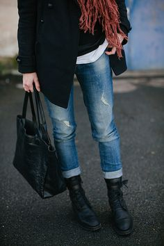 Manteau Maje (ancienne co)(vu ici)    Pull Odemaï    Jean Zara (ancienne co)(vu ici)    Boots Ann Demeulemeester    Sac Rib&Hull