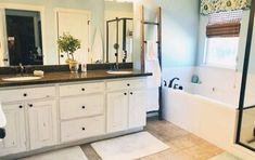 My Little Bathroom Makeover for $50 | Hometalk Staining Cabinets, Ikea Cabinets, Cupboards, Budget Bathroom, Small Bathroom, Master Bathroom, Bathroom Ideas, Bathrooms, Dark Granite Countertops