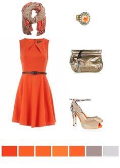 tangerine, gold, beige
