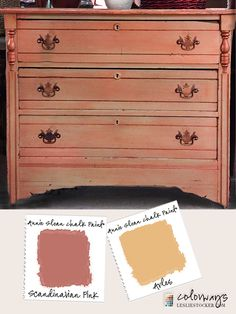 a Annie Sloan Chalk Paint® Scandinavian Pink layered over a coat of Arles on a vintage dresser. Some may say Scandinavian Pink and Arles are a bold color combination. If you are up for the c...
