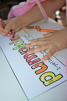 Classroom Freebies: Color-by-Number Fall Words
