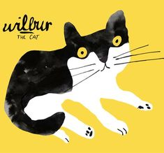 Illustration by Kevin Waldron (b. 1979), Wilbur the cat. #illustration #animalillustration