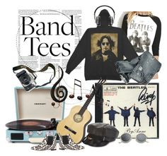 """""""Band Tees"""" by anne-977 ❤ liked on Polyvore featuring Crosley, Eos, Benzara, Stephen Jones, Master & Dynamic, Bams and bandtees"""