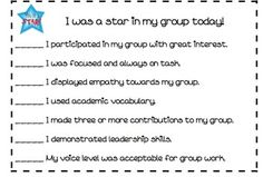 Student Self Assessment for Group Work Rubric Student Presentation, Student Self Assessment, Voice Levels, Academic Vocabulary, Third Grade Reading, Leader In Me, Reading Games, Cooperative Learning, Group Work