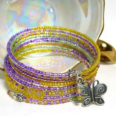 Butterfly Charm Multi Wrap Purple Green Yellow Orange BOHO Bracelet | KatsAllThat - Jewelry on ArtFire