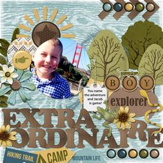 What fun!! I hope you are all collecting your DOWNLOAD A DAY pieces from NORTH MEETS SOUTH this month on the Gingerscraps blog here:  http://gingerscraps.net/gsblog/! Nothing can hold this kid back!! He's adorable. Besides the kit from North Meets South (Connie Prince and Trixie Scraps) I also used a great template from Dagi's Temp-tations Put a Spring in Your Step found here: http://store.gingerscraps.net/Put-A-Spring-In-Your-Step.html