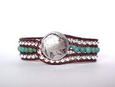 Boho Leather Wrap Bracelet Cuff Chan Luu Turquoise Silver Buffalo Nickel