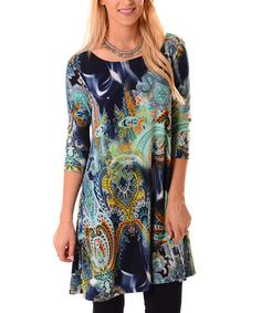 56cc7381a4c Look at this  zulilyfind! Navy  amp  Green Abstract Paisley Dress - Plus