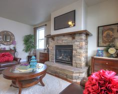 Stone Gas Fireplace With Mantle Design, Pictures, Remodel, Decor and Ideas