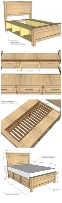 DIY Farmhouse Storage Bed With Storage Drawers