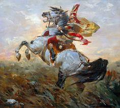 THE QUEEN TOMIRIS, 51.2x 70.8 inches Oil on Canvas by Talgat Tleuzhanov, kazakh artist