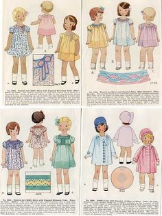 Set of 4 1930's Vintage Little Girls in Their Smocked Dresses, Outfits, Illustration Prints, Wall Decor