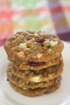 Pumpkin Oatmeal Cookies with Cranberry and White Chocolate - it's officially fall, so we can officially put pumpkin in EVERYTHING!