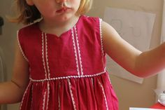Free little girl's dress pattern, see additional tutorial for adding trim