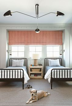 Designer Joe Lucas blended sophisticated details with a playful aesthetic in a California home where East Coast tradition meets West Coast cool. Such a cute room for two kids! Room, Black Bedding, Shared Bedroom, Kids Rooms Shared, Twin Bed, Bedroom Inspirations, Boy Room, Kids Bedroom, Master Bedrooms Decor