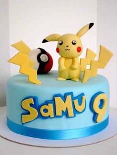 For my son 😆 Bolo Pikachu, Pikachu Cake, Cake Icing, Eat Cake, Cupcake Cakes, Pokemon Torte, Pokemon Cakes, Pokemon Birthday Cake, 7th Birthday