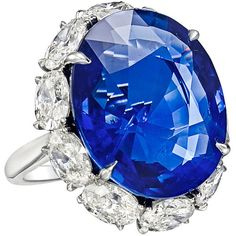 Preowned 22.22 Carat Sapphire & Diamond Ring ($250,000) ❤ liked on Polyvore featuring jewelry, rings, blue, preowned rings, pre owned jewelry, diamond jewellery, diamond rings and blue diamond jewelry