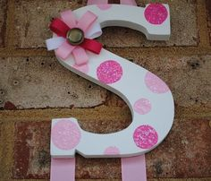 Baby Girl Hand Painted Initial Hair Bow Holder by NestofManyColors Painted Initials, Hand Painted, Hair Accessories Holder, Girls Hand, Wooden Letters, Baby Crafts, My Baby Girl, Bow Holders, Craft Gifts