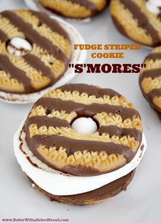 Spare tires?!?!  For the Planes birthday!!  Fudge Striped Cookie Smores - I had this idea earlier & now I see a pin for it. Sweet.