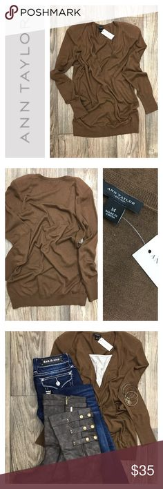 ANN TAYLOR Brown V-Neck Sweater Sz Med Get ready for chilly weather in this beautiful chocolate brown ANN TAYLOR v-neck sweater. Perfect to pair over your favorite camisole! NWT  LOVE THIS LOOK!? Get the jeans here! https://poshmark.com/listing/ROCK-REVIVAL-Kristen-True-Straight-Jeans-Sz-27-59b818444127d0174401549a  *Please note this listing is for the top ONLY* Ann Taylor Sweaters V-Necks