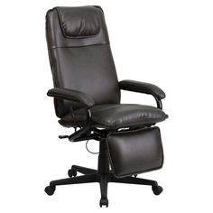 Flash Furniture High Back Leather Executive Reclining Swivel Office Chair - BT-70172-BN-GG