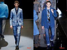 Tendencias hombre otoño/invierno 13/14 color azul: Gucci y Versace.