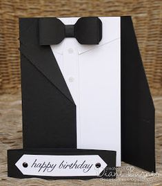[ JAI 276 – Just add male cards – suited up tutorial masculine suit – tuxedo birthday – fathers day card with tutorial – instructions using Stampin' Up supplies. By Di Barnes Masculine Birthday Cards, Birthday Cards For Men, Masculine Cards, Male Birthday, Deco Cinema, Tuxedo Card, Tuxedo Suit, Suit Card, Boy Cards