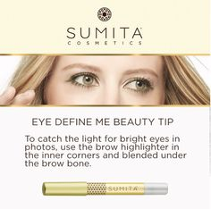 The Sumita brow highlighter is great for brightening up your eyes and can also be used for 'strobing'