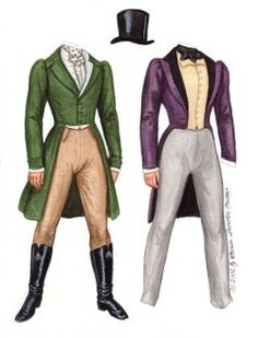 1830's BEAU Romantic hero inspired by a collection of antique prints of gentleman's fashions.  2 of 3