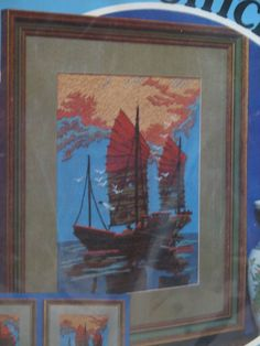 Paragon Needlecraft Embroidery Kit Oriental Junk Boat #0820 Sandra Kmet vtg #ParagonNeedlecraft