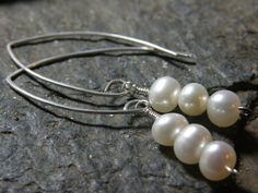 Fresh Water Pearls Sterling Silver White by Blackberrygardens, $22.00