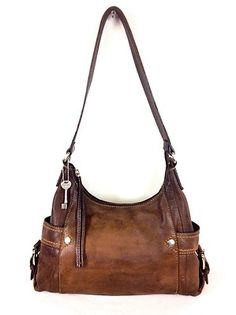 Fossil Purse Leather Pebbled Satchel ZIP UP Shoulder BAG Handbag Womens Brown M | eBay