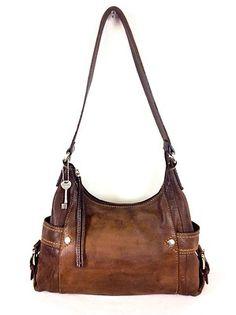 Fossil Purse Leather Pebbled Satchel ZIP UP Shoulder BAG Handbag Womens Brown M | eBay