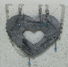Puzzle Heart Necklaces set of 5 by GirlwithaFrogTattoo on Etsy