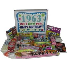 50th Birthday 1963 Retro Candy Birthday Box. --Print pictures of different things from that time.