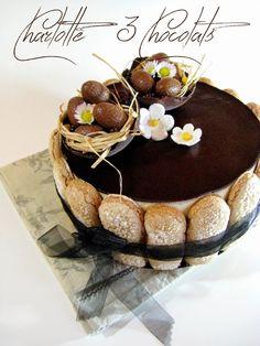 J'en reprendrai bien un bout...: Charlotte 3 Chocolats.... Cake Recipes, Dessert Recipes, Dessert Aux Fruits, About Easter, Crazy Cakes, Pastel, Food Styling, Tiramisu, Charlotte Russe