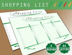 Shopping List Printable Mint  Daily Planner by ELFplanners on Etsy