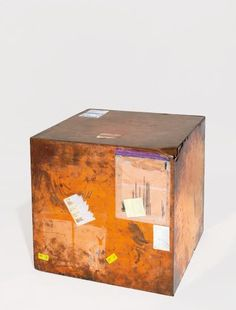 Walead Beshty  24-inch Copper (FedEx® Large Kraft Box ©2005 FEDEX 330510), Express Saver, Torrance, CA-New York trk #648262697493, October 5-8, 2015 , 2010  polished copper box, accrued FedEx tracking and shipping labels 24 x 24 x 24 in. (61 x 61 x 61 cm)