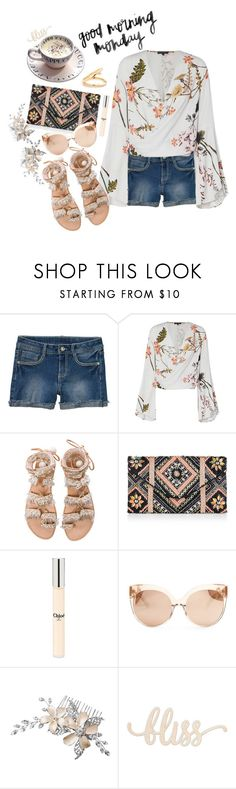 """Monday in Denim Shorts"" by juliehooper ❤ liked on Polyvore featuring Elina Linardaki, New Look, Chloé, Linda Farrow, jeanshorts, denimshorts and cutoffs"
