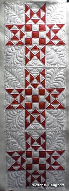 Celia's Red White Challenge - Christmas Stars - quilted by Linda of LR Designs…