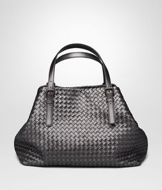 799c9c9367 BOTTEGA VENETA LARGE TOTE BAG IN ARGENTO OSSIDATO INTRECCIATO GROS GRAIN  Top Handle Bag D fp